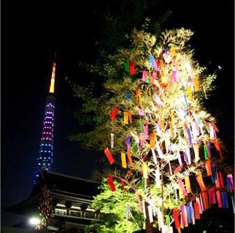 ライトアップされた短冊と東京タワー