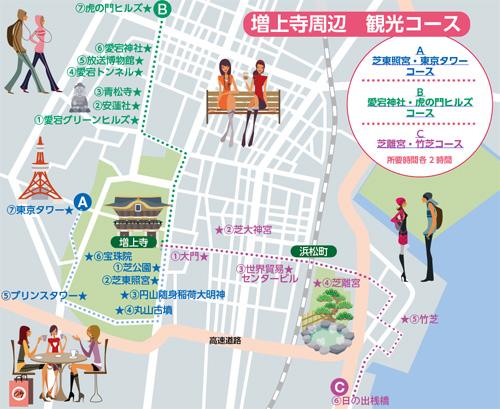 増上寺周辺 観光コース図